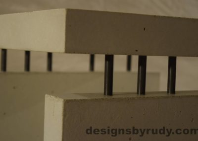 12L White Concrete Side Table DR0 interior lighting, top corner closeup 2, no flash, Designs by Rudy