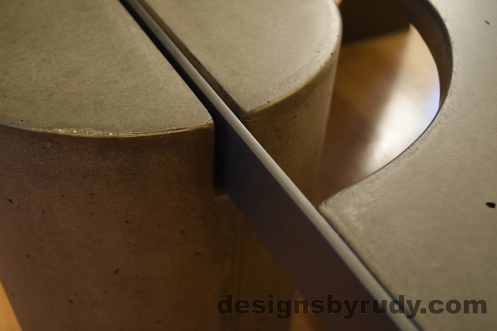 Black Concrete Coffee Table, Black Steel Frame, full round leg and top steel frame joint, no flash, Designs by Rudy