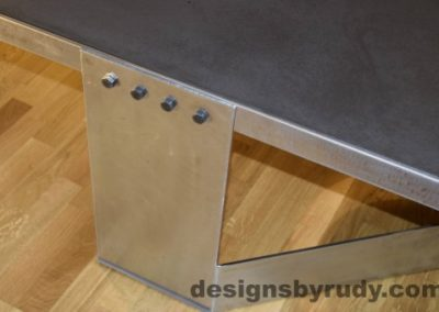 Charcoal Concrete Coffee Table, Polished Steel Frame, steel leg view closeup, with flash Designs by Rudy