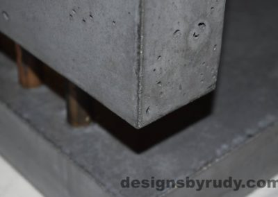13 Charcoal Concrete Side Table DR0 front bottom corner view closeup 2 with flash, Designs by Rudy