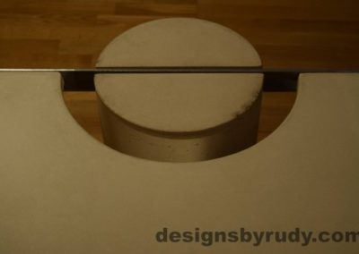 13 White Concrete Coffee Table, Polished Steel Frame, round leg top view closeup 8 with flash Designs by Rudy
