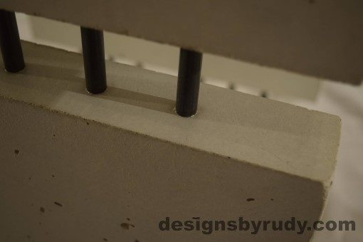 13 White Concrete Side Table DR0 interior lighting, top corner closeup, no flash, Designs by Rudy