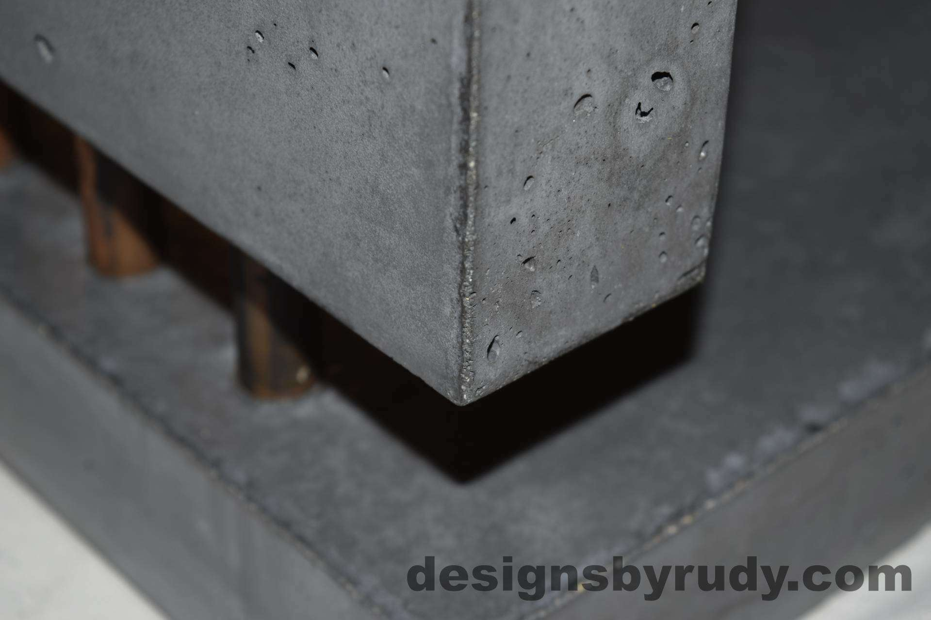 13L Charcoal Concrete Side Table DR0 front bottom corner view closeup 2 with flash, Designs by Rudy