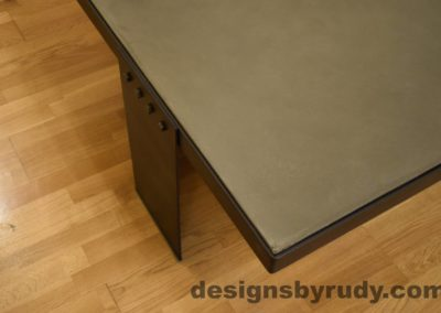Gray Concrete Coffee Table, Black Steel Frame, top front corner view, no flash, Designs by Rudy