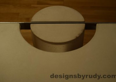 White Concrete Coffee Table, Polished Steel Frame, round leg top view closeup 8 with flash Designs by Rudy