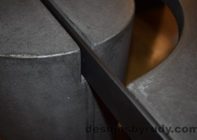 Black Concrete Coffee Table, Black Steel Frame, full round leg and top steel frame joint, with flash, Designs by Rudy