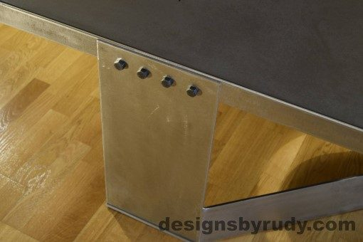 Charcoal Concrete Coffee Table, Polished Steel Frame, steel leg view closeup, no flash Designs by Rudy