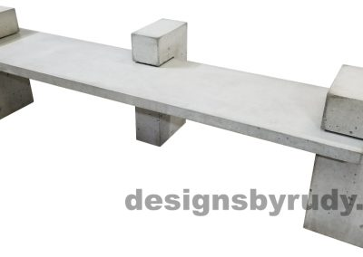 DR CB1 concrete bench on 3 pedestals by Designs by Rudy, right angle view, slab and pedestals in gray concrete