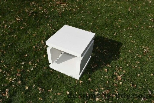 14 White Concrete Side Table DR0 natural lighting, full angle view 1, Designs by Rudy