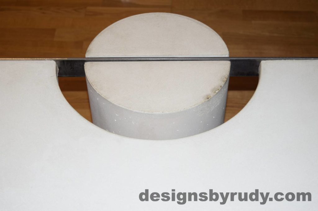 White Concrete Coffee Table, Polished Steel Frame, round leg top view closeup 9 with flash Designs by Rudy