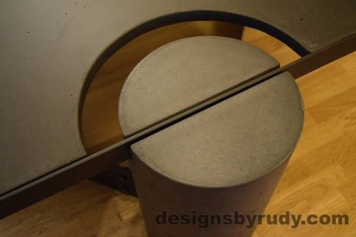 Charcoal Concrete Coffee Table, Black Steel Frame, round leg top angle view 2, no flash, Designs by Rudy