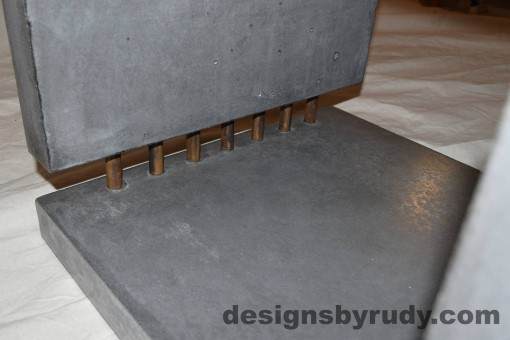 15 Charcoal Concrete Side Table DR0 bottom inside section view closeup with flash, Designs by Rudy