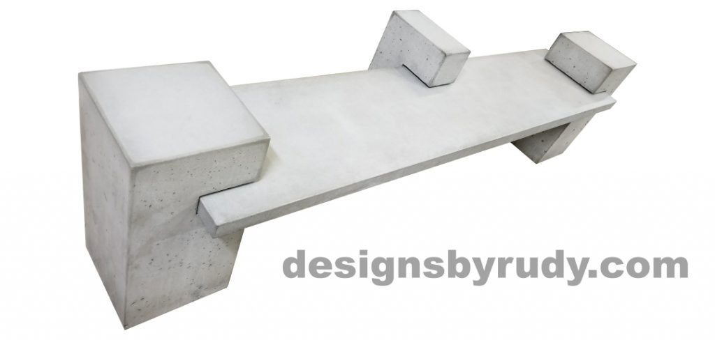 DR CB1 concrete bench on 3 pedestals by Designs by Rudy, top angle view, slab and pedestals in gray concrete