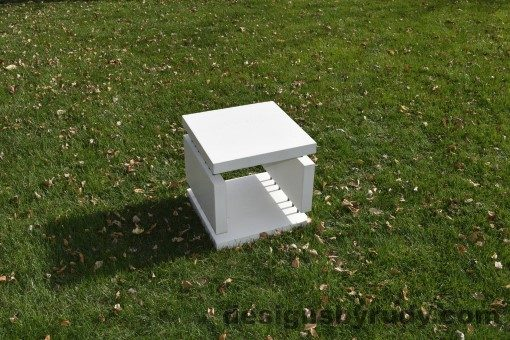 15 White Concrete Side Table DR0 natural lighting, full angle view 4, Designs by Rudy