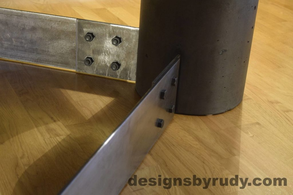 Black Concrete Coffee Table, Polished Steel Frame, steel leg and concrete leg joint, Designs by Rudy