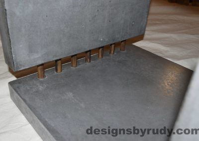 15L Charcoal Concrete Side Table DR0 bottom inside section view closeup with flash, Designs by Rudy