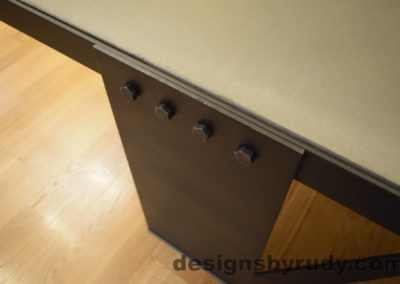Gray Concrete Coffee Table, Black Steel Frame, steel leg and top frame joint detail, no flash, Designs by Rudy