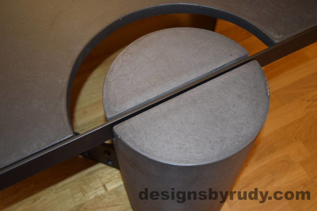 Black Concrete Coffee Table, Black Steel Frame, round leg top angle view 2, with flash, Designs by Rudy