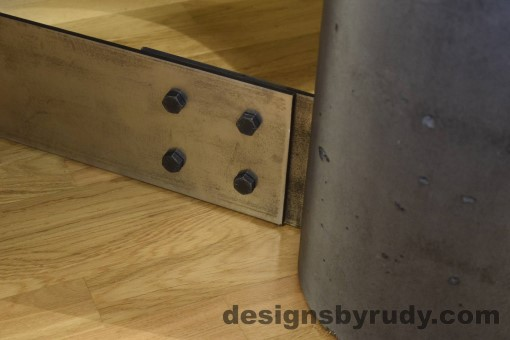 Charcoal Concrete Coffee Table, Polished Steel Frame, steel leg and concrete leg joint closeup 3, Designs by Rudy