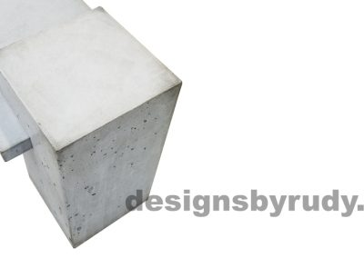 DR CB1 concrete bench on 3 pedestals by Designs by Rudy, single pedestal in gray concrete