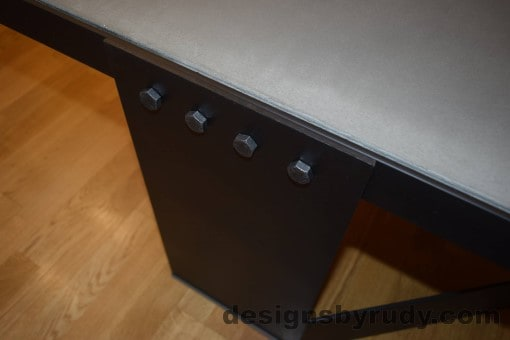 Gray Concrete Coffee Table, Black Steel Frame, steel leg and top frame joint detail, with flash, Designs by Rudy