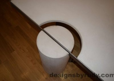 16 White Concrete Coffee Table, Polished Steel Frame, round leg top view closeup 2 with flash Designs by Rudy
