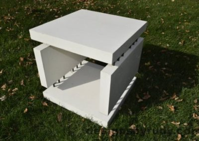 16 White Concrete Side Table DR0 natural lighting, full angle view 2, Designs by Rudy