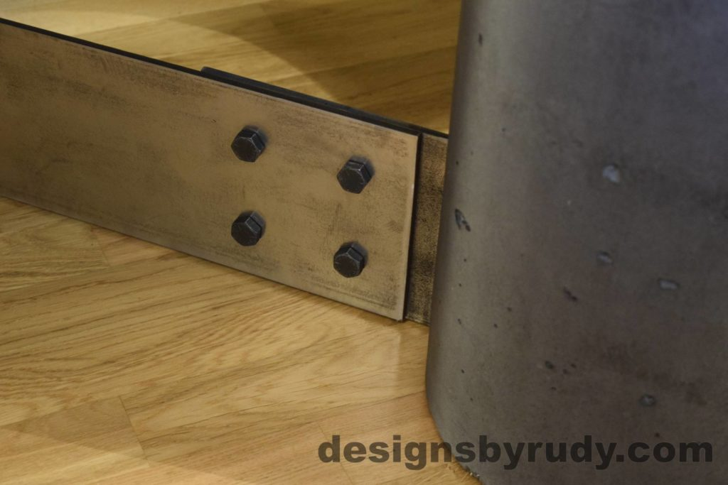 Black Concrete Coffee Table, Polished Steel Frame, steel leg and concrete leg joint closeup 3, Designs by Rudy