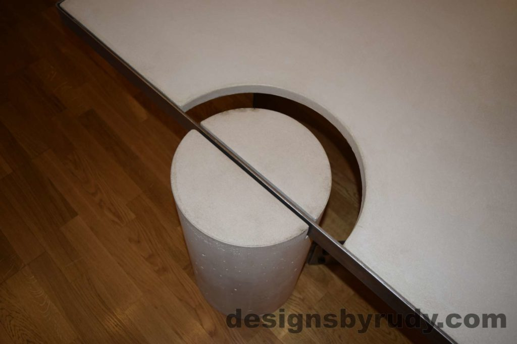 White Concrete Coffee Table, Polished Steel Frame, round leg top view closeup 2 with flash Designs by Rudy