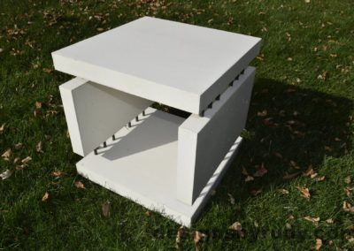 16L White Concrete Side Table DR0 natural lighting, full angle view 2, Designs by Rudy
