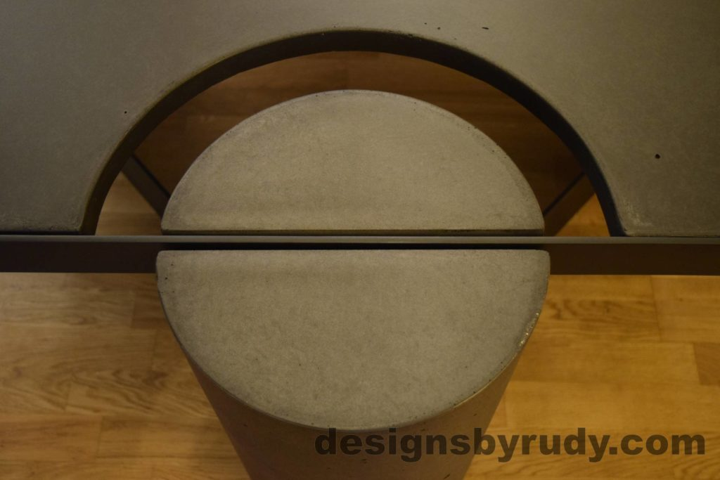 Black Concrete Coffee Table, Black Steel Frame, round leg top view, no flash, Designs by Rudy