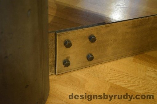 Charcoal Concrete Coffee Table, Polished Steel Frame, steel leg and concrete leg joint closeup 2, Designs by Rudy