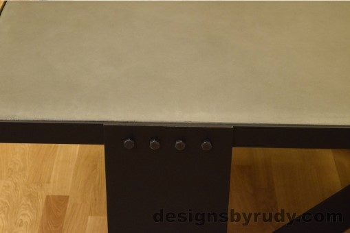 Gray Concrete Coffee Table, Black Steel Frame, steel leg and top frame joint detail, no flash 3, Designs by Rudy