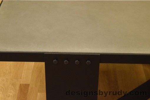 Gray Concrete Coffee Table, Black Coated Steel, Clean Cut DR30
