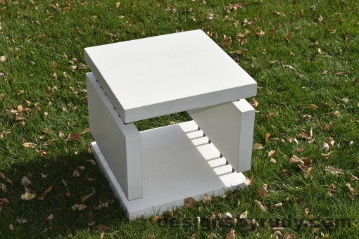 17 White Concrete Side Table DR0 natural lighting, full angle view 3, Designs by Rudy