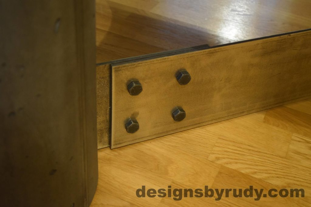 Black Concrete Coffee Table, Polished Steel Frame, steel leg and concrete leg joint closeup 2, Designs by Rudy