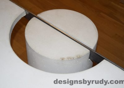 White Concrete Coffee Table, Polished Steel Frame, round leg top view closeup 4 with flash Designs by Rudy
