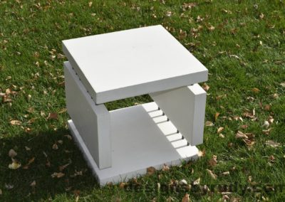 17L White Concrete Side Table DR0 natural lighting, full angle view 3, Designs by Rudy