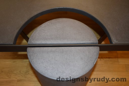 Charcoal Concrete Coffee Table, Black Steel Frame, round leg top view, with flash, Designs by Rudy