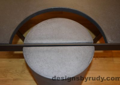 Black Concrete Coffee Table, Black Steel Frame, round leg top view, with flash, Designs by Rudy