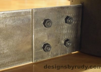 Charcoal Concrete Coffee Table, Polished Steel Frame, steel leg and concrete leg joint closeup, Designs by Rudy