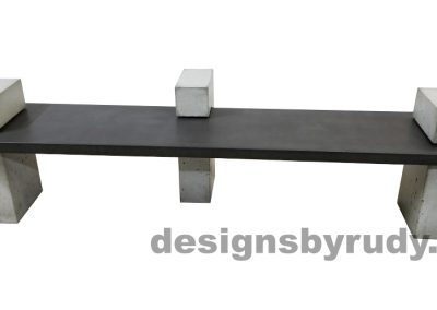 DR CB1 concrete bench on 3 pedestals by Designs by Rudy, front view, slab in charcoal concrete and 3 pedestals in gray concrete