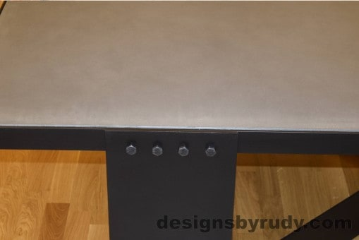 Gray Concrete Coffee Table, Black Steel Frame, steel leg and top frame joint detail, with flash 3, Designs by Rudy