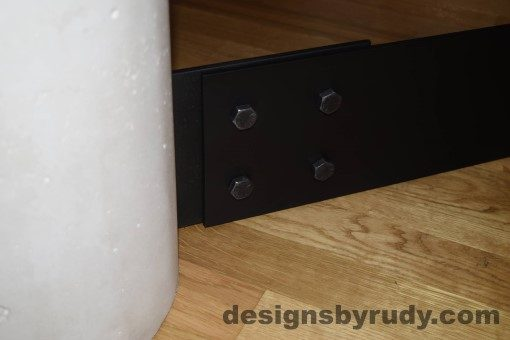 White Concrete Coffee Table, Black Steel Frame, concrete leg and steel frame extension joint detail, Designs by Rudy