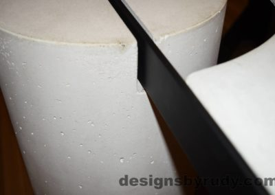 White Concrete Coffee Table, Black Steel Frame, concrete leg and steel frame joint top view detail, Designs by Rudy