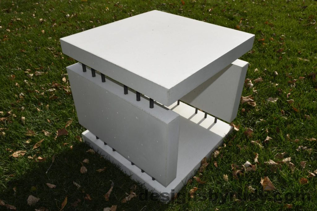 18L White Concrete Side Table DR0 natural lighting, full angle view2, Designs by Rudy