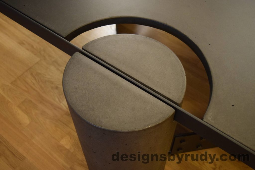 Black Concrete Coffee Table, Black Steel Frame, round leg top angle view, no flash, Designs by Rudy