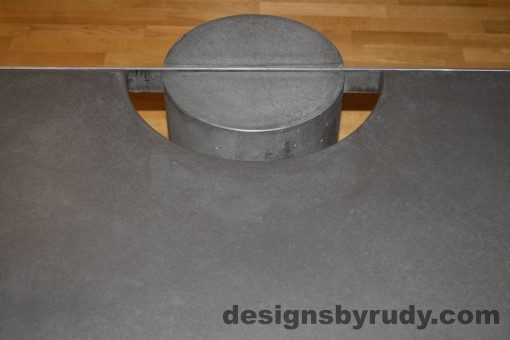 Charcoal Concrete Coffee Table, Polished Steel Frame, frame and leg connection top view 5, with flash Designs by Rudy