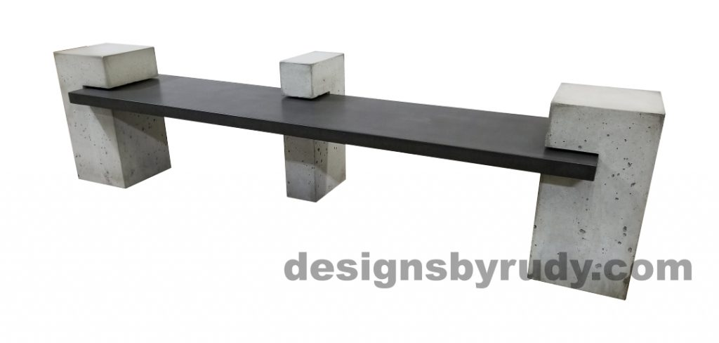 DR CB1 concrete bench on 3 pedestals by Designs by Rudy, right angle view, slab in charcoal concrete and 3 pedestals in gray concrete