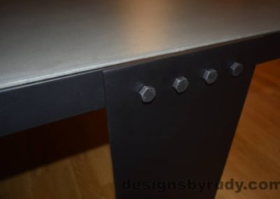 Gray Concrete Coffee Table, Black Steel Frame, steel leg and top frame joint detail, with flash 2, Designs by Rudy